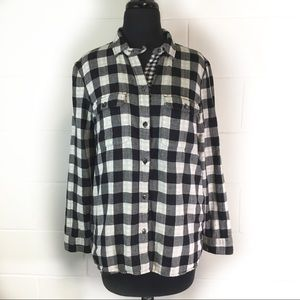 Madewell Black and White Buffalo Plaid Shirt
